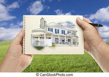 דיר, מעל, תחום, נייר, להחזיק ידיים, דשא, ציור, ריק