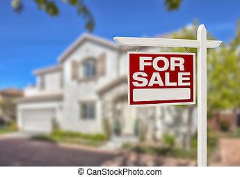 דיר, סימן של מכירה, חדש, חזית, בית