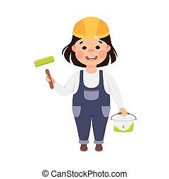 דלי, קשה, וקטור, צחצח, חמוד, קטן, מוט גלילי, אופי, קבלן, סרבל, צייר, כלים, בניה, כחול, סיגנון, צבע, ילדה, דוגמה, כובע, ציור היתולי