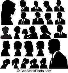 דמויות, אנשים, צללית, פשוט