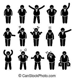 דמויות, שומן, או, set., מעביד, פעולות, עשיר, מניח, אופי, בוס, איקון, הדבק