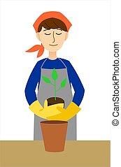דמות, אישה, סרבל, לשתול, pot., ללבוש, פרוח, צמח צעיר