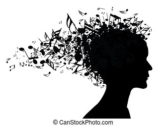 דמות, אישה, צללית, מוסיקה