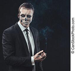 דמות, איש עסקים, איפור, שלד, לעשן
