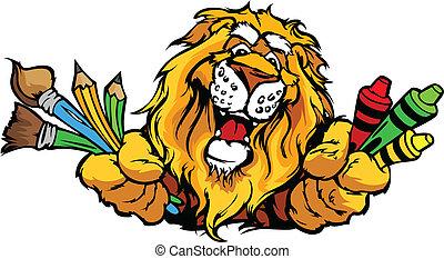 דמות, אריה, וקטור, קמיע, ציור היתולי, לפני בהס, שמח