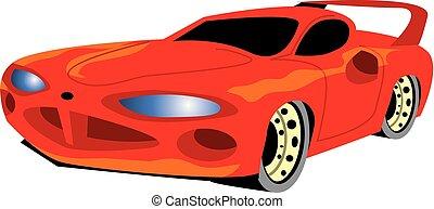 דמות, וקטור, מכונית., אדום, שריר