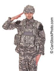 דמות, להצדיע, צבא, איש, מדים