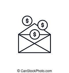 דמות, מטבעות, מעטפה, כסף, קו