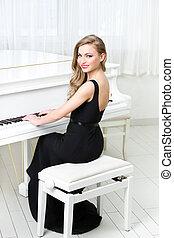 דמות, פסנתר, אישה, לשחק, לשבת