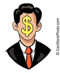 דמות, ציור היתולי, הנהגה, איש עסקים, icon., סמל