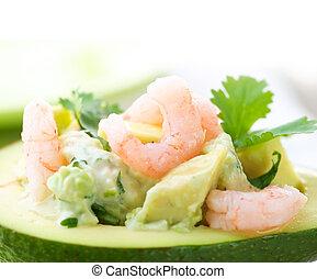 דמות, צילום מקרוב, אבוקדו, salad., שרימפס