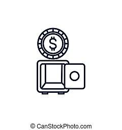 דמות, קופסה, כספת, כסף, קו