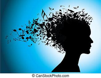 דמות, רואה, אישה, צללית, מוסיקלי