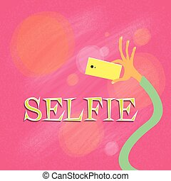 דמין, צבעוני, צילום, selfie, העבר, טלפן, קח, דמות, החזק, עצמי, חכם