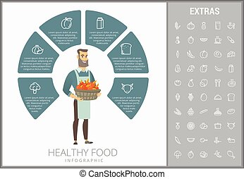 דפוסית, אוכל, infographic, בריא, יסודות, איקונים