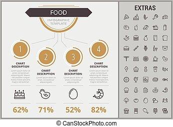 דפוסית, אוכל, infographic, יסודות, icons.