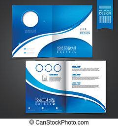 דפוסית, כחול, חוברת, עצב, לפרסם