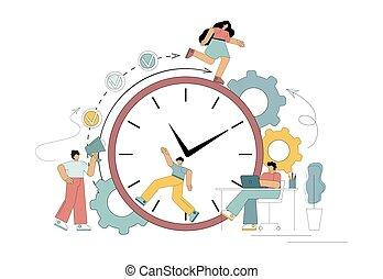 דרך, לחץ, תנאים, זמן, success., התרבה, כמו, סנאי, wheel., עבודה, ניהול, מדגיש, boss., מתחת