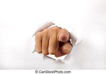 דרך, נייר, אצבע, שבור, להצביע, העבר, אתה, לבן