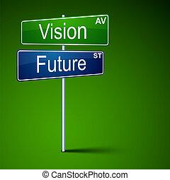 דרך, ראיה, חתום., כיוון, עתיד