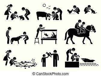 האכלה, בעלי חיים, לפעול, אנשים, ביתי, cliparts
