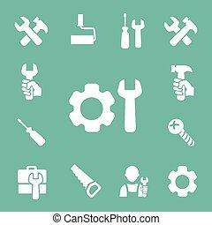 הבס, וקטור, לעבוד, הקלט, משוך, כלים, הפרד, קבע, למדוד, מברג, איקונים