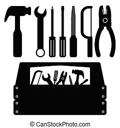 הבס, קבע, כלים, קופסת כלים, משוך, איקון, שחור, ראה, מברג, עבודה, מתקן כל דבר, שרותים
