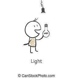 הברג, איש, נורת חשמל, אור