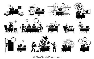 הדבק, icons., פיכטוגראם, או, הבן, איש עסקים, מנהל, עובד, משרד, מנהל ראשי, עסוק