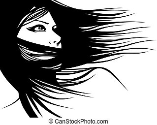 הובל, אישה, בעל סגנון, שלהם, שיער, vector), (hair