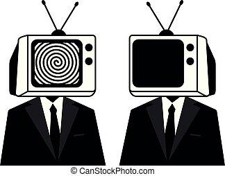 הובל, אנשים, זומבי, media., silhouette., טלויזיה, מסה, instead, איש