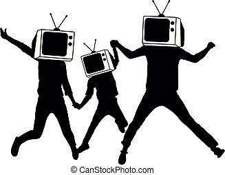 הובל, אנשים, פרופגנדה, silhouette., טלויזיה, zombies., מזויף, instead, news., איש