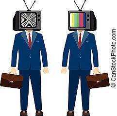 הובל, טלויזיה, אופי, פרופגנדה, vector., מזויף, איש עסקים, news., טלוויזיה, man.