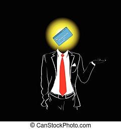 הובל, צללית, כרטיס, בנקאות, איש, קשר אדום, זכה, מושג, התאם