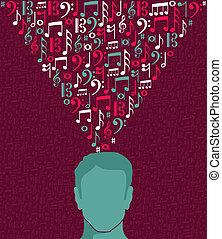 הובל, רואה, דוגמה, מוסיקה, בן אנוש, איש
