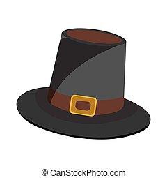 הודיה, דוגמה, ציור היתולי, וקטור, icon., כובע, style., יום