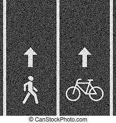 הולך רגל, שבילים של אופניים