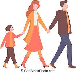 הולך, שמח, להחזיק, משפחה, hands.