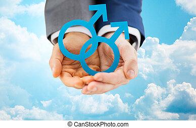הומוסקסואלי, מין, קשר, , להחזיק קרוב, סמל זכר