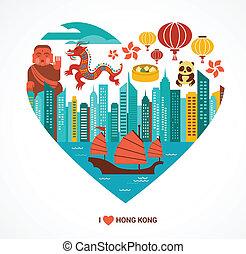 הונג, אהוב, דוגמה, קונג, וקטור, רקע