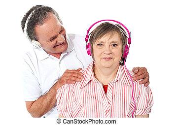 הזדקן, קשר, מוסיקה, רקע, לבן, להנות, מעל