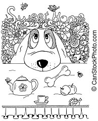 הזמן, שרבט, מדגיש, שחור, exercise., הרהרי, דוגמה, adults., white., וקטור, לצבוע, שולחן., flowers., מטבח, כלב, נגד