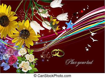 הזמנה, וקטור, חתונה, כרטיס, דש, card., illustration.