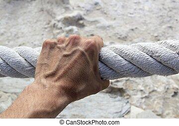 החזק, חזק, יד גדולה, חבל, תפוש, הזדקן, איש