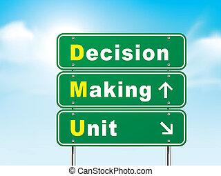 החלטה, חתום, יחידה, לעשות, דרך, 3d