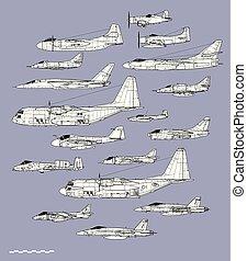 הכרח, תאר, מטוס, הבלט, אמריקאי, וקטור, profiles., צי, planes., תקוף, ציור