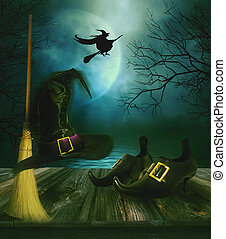 הלוווין, רקע, כובע של מכשפות, מטאטא, נעליים