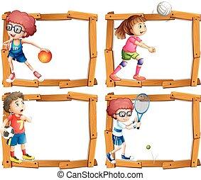הסגר, ילדים, לשחק, דפוסית, ספורט