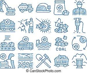 העבר, פחם, ציוד, איקון, צייר, דוגמה, חפור