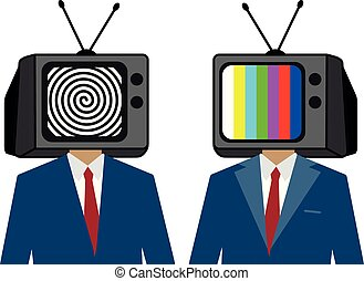 הפנט, טלויזיה, אנשים., זומבי, בן אדם, instead, head., איש